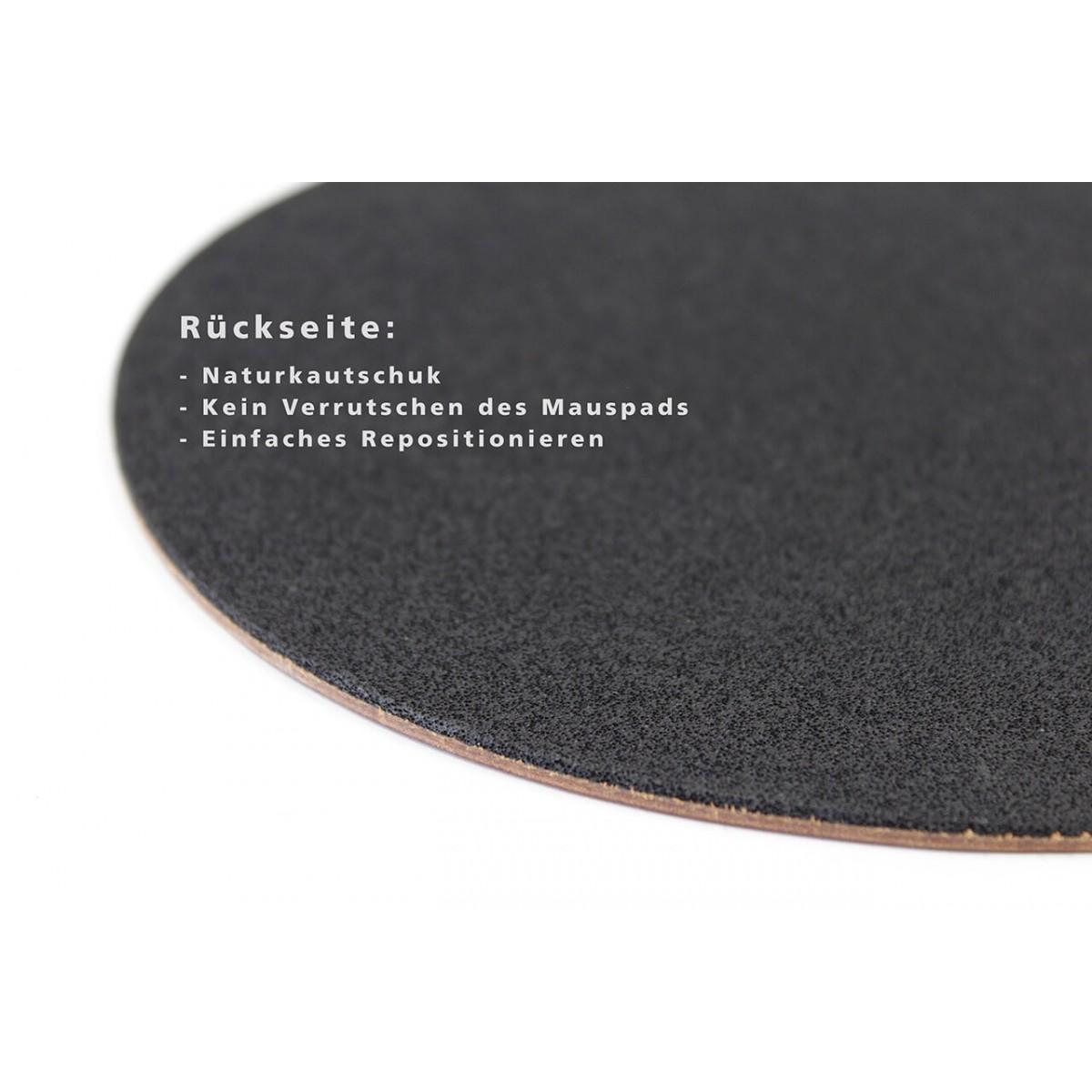 Leder Mousepad Rückseite mit Naturkautschuk