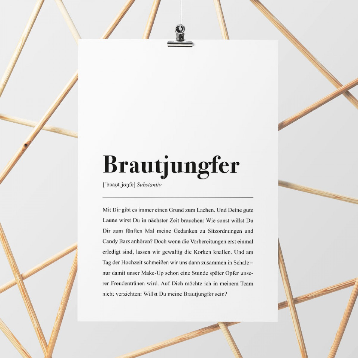 Brautjungfer Definition: DIN A4 Poster - Pulse of Art