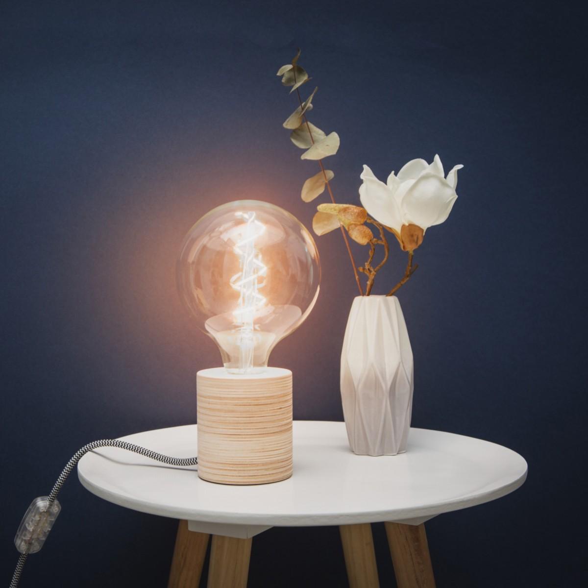 """Lichtliebe Tischleuchte """"Fafoo"""" in weiß und schwarz-weiß inkl. Edison Spiral LED im Retro Design mit nur 1,8 Watt"""