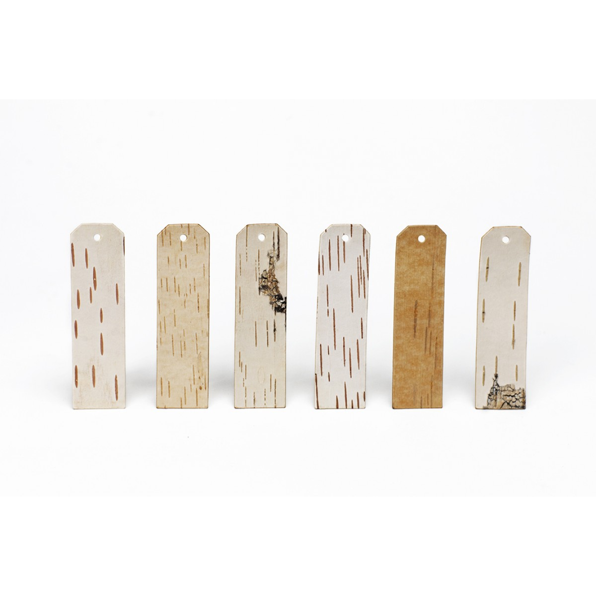 Geschenkanhänger aus beschreibbarer Birkenrinde - LANG - 6 Stück