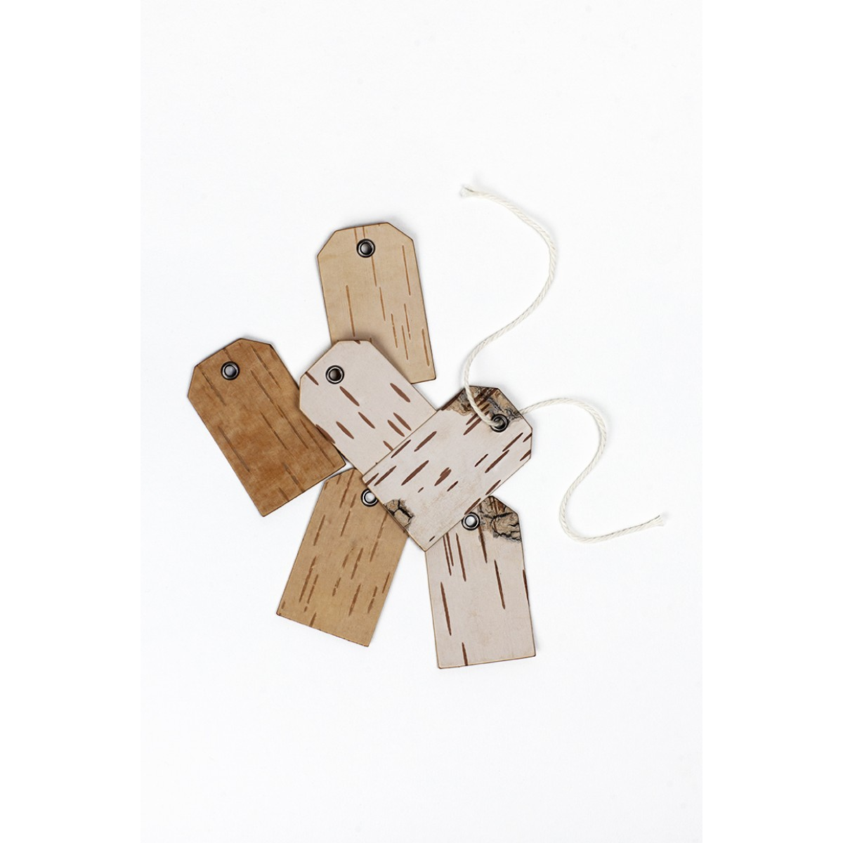 MOYA Geschenkanhänger mit Öse - Etiketten aus Birkenrinde - KURZ