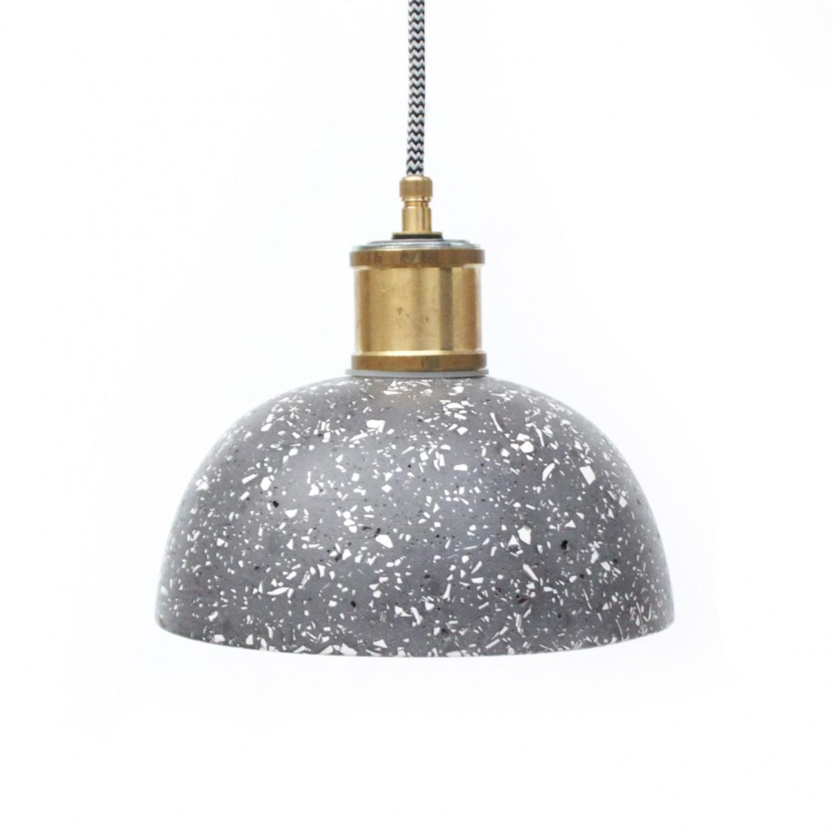 Terrazzo Hängelampe / Leuchte schwarz-weiß  / objet vague
