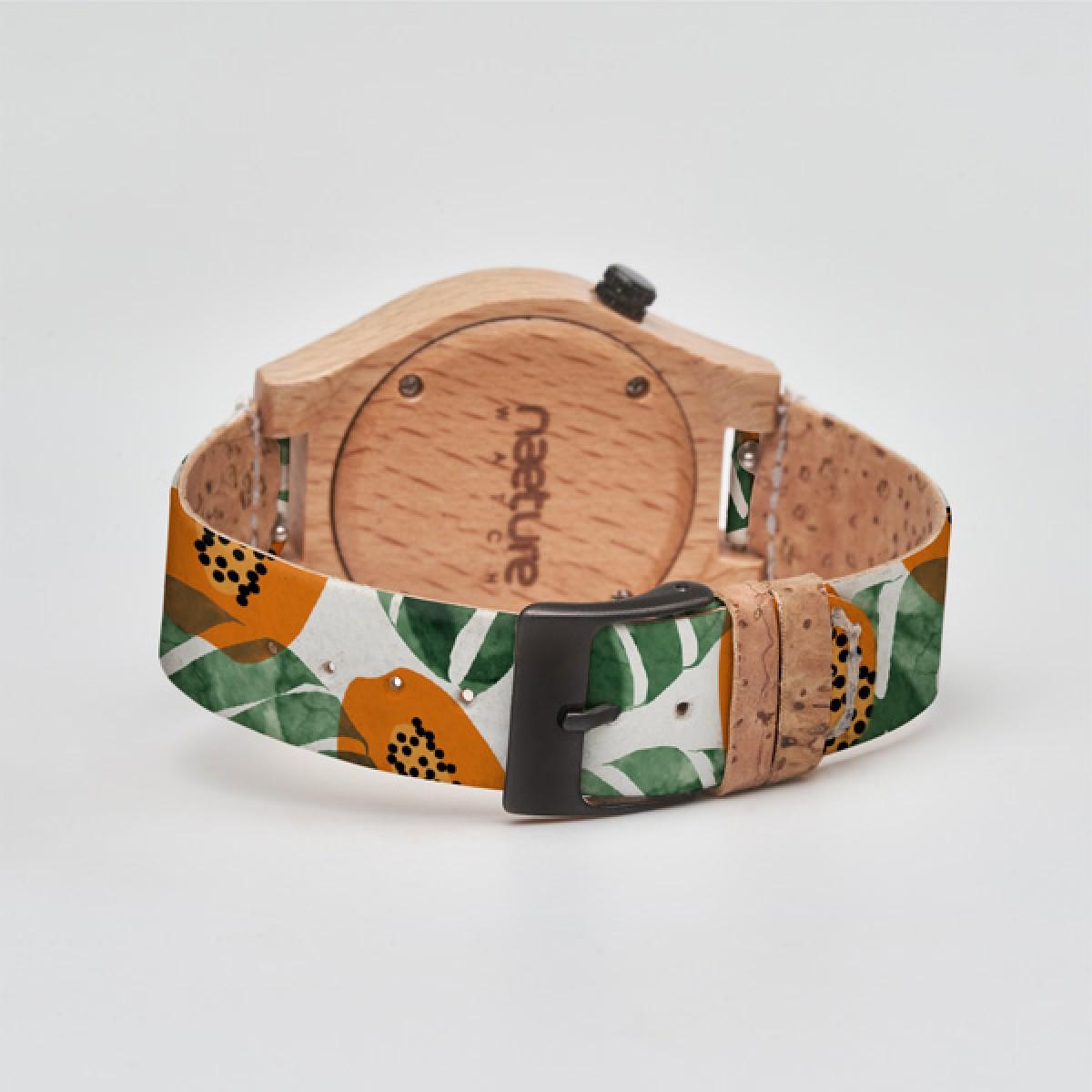 "Naeture Watch ""Papaya Jungle"" - Holzuhr mit veganem Armband"