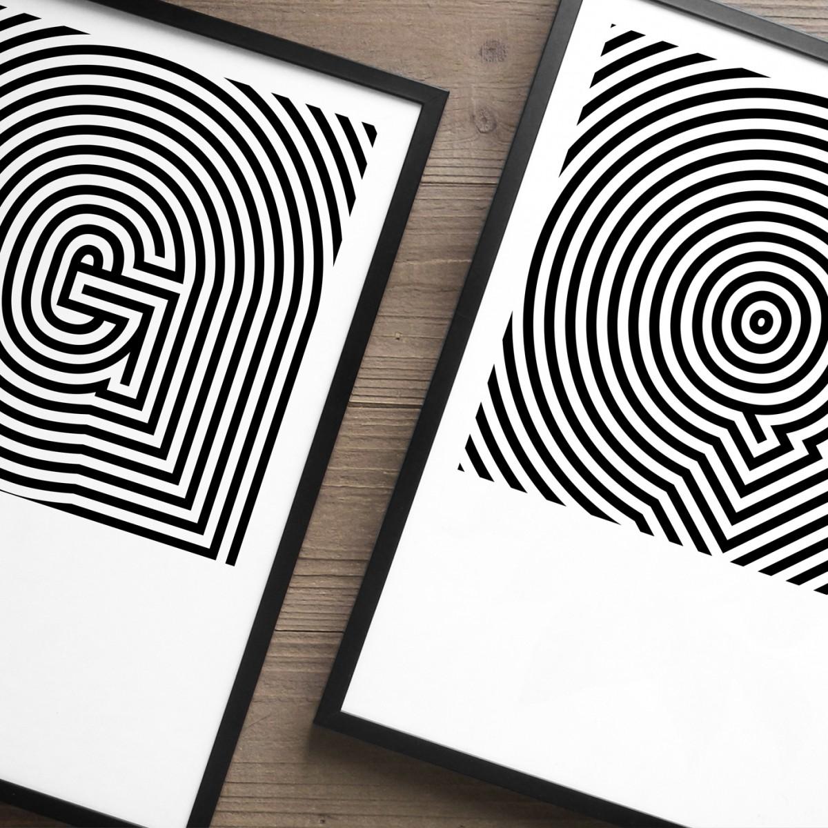 The True Type OpArt ABC Serie Buchstaben Print in DIN A3, schwarz-weiß