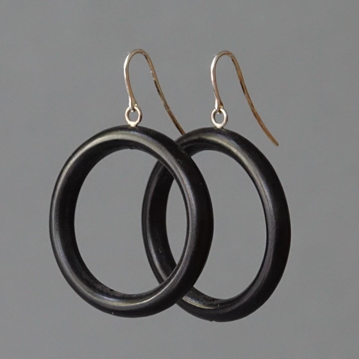 Holzkreise - margaritifera - Ohrhänger - Holz schwarz und Silber 925