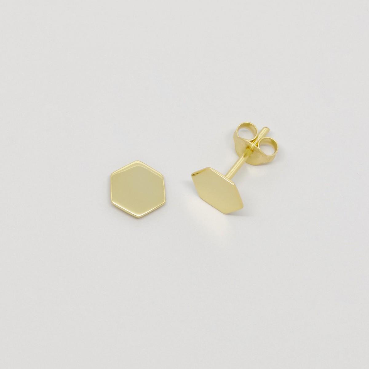 fejn jewelry - Ohrstecker 'hexagon shiny'