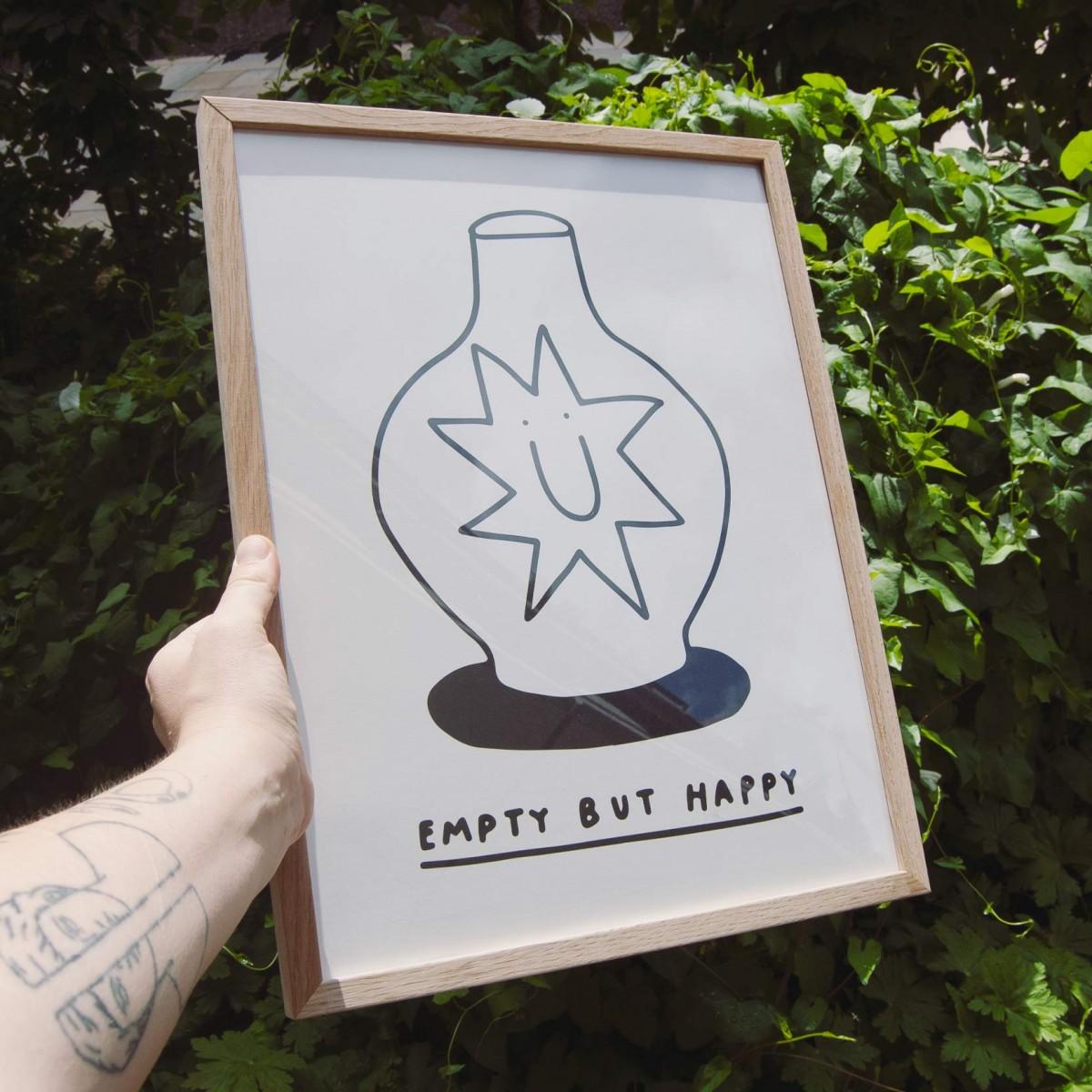 EMPTY BUT HAPPY Print 30x40cm – Johanna Schwarzer