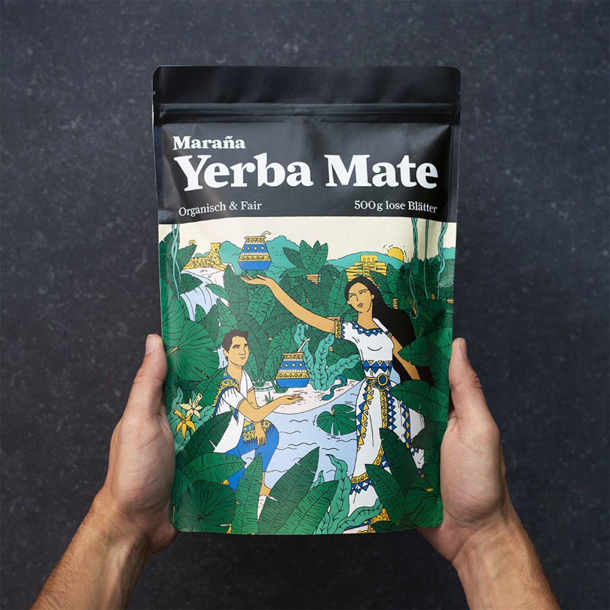 Maraña Yerba Mate Tee Grün ● Natürlicher Wachmacher und Energy Booster mit Koffein ● 500g lose Blätter ● Organisch & Fair