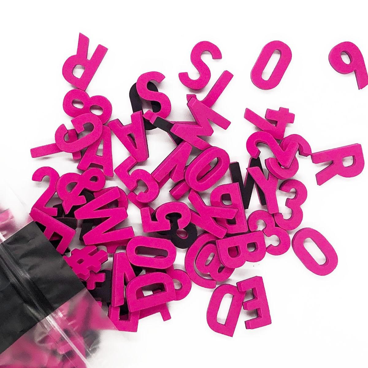 Set mit 200 Magnetbuchstaben, Zahlen & Sonderzeichen. PARTY PINK