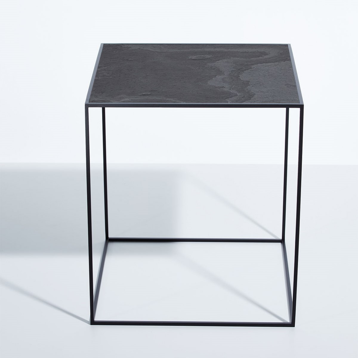 SkanBavaria Wuzzl - Beistelltisch mit Steinplatte (Schwarz Grau)