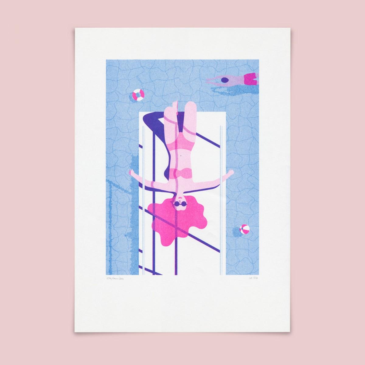 Stefanizen – 'Poollady' A3 Riso Print