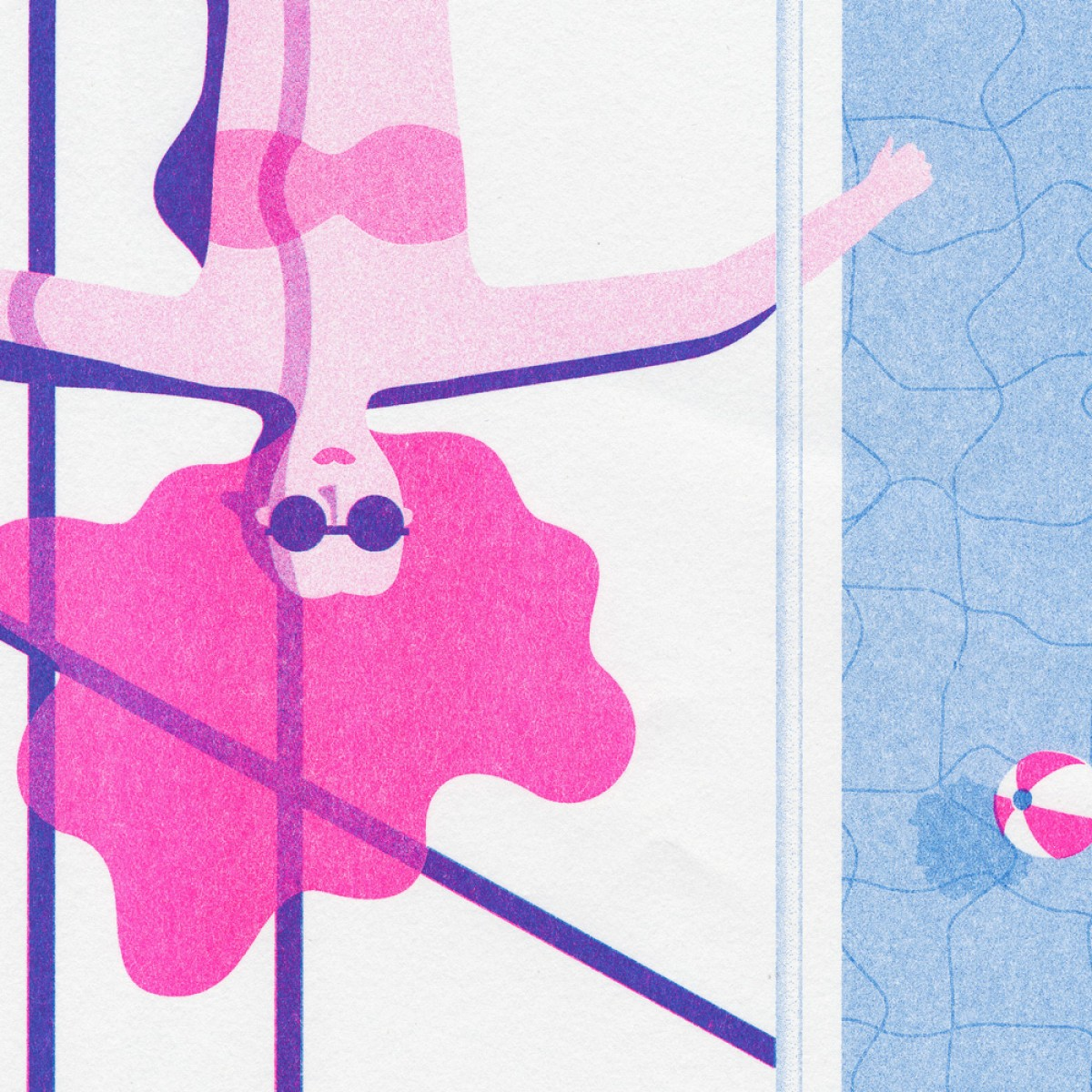 'Poollady' Riso Print