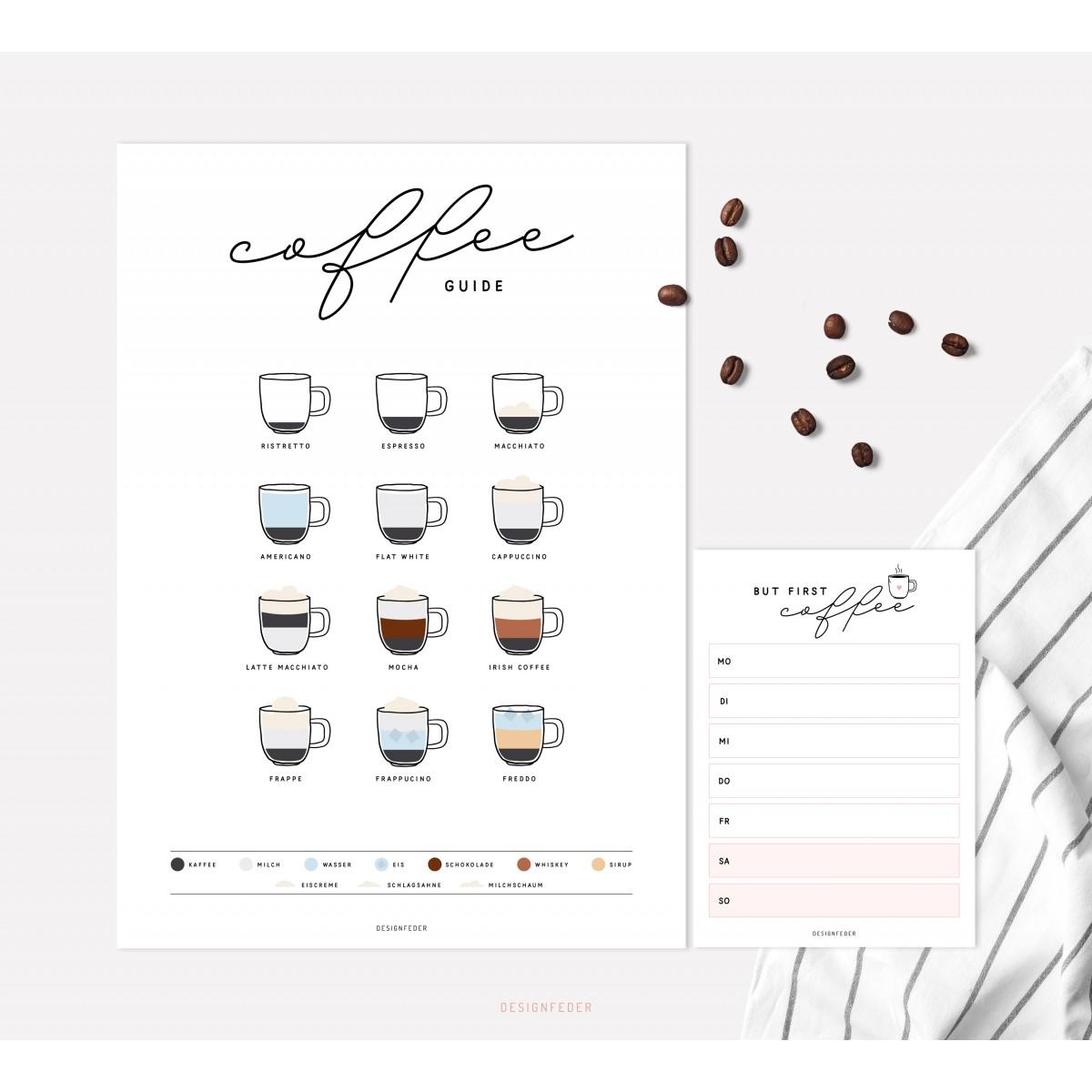 designfeder | Poster & Notizblock Coffee