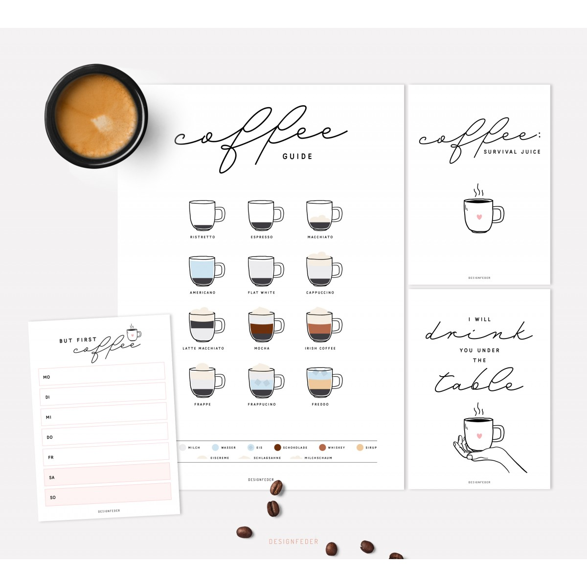 designfeder | Poster, Postkarten & Notizblock Coffee