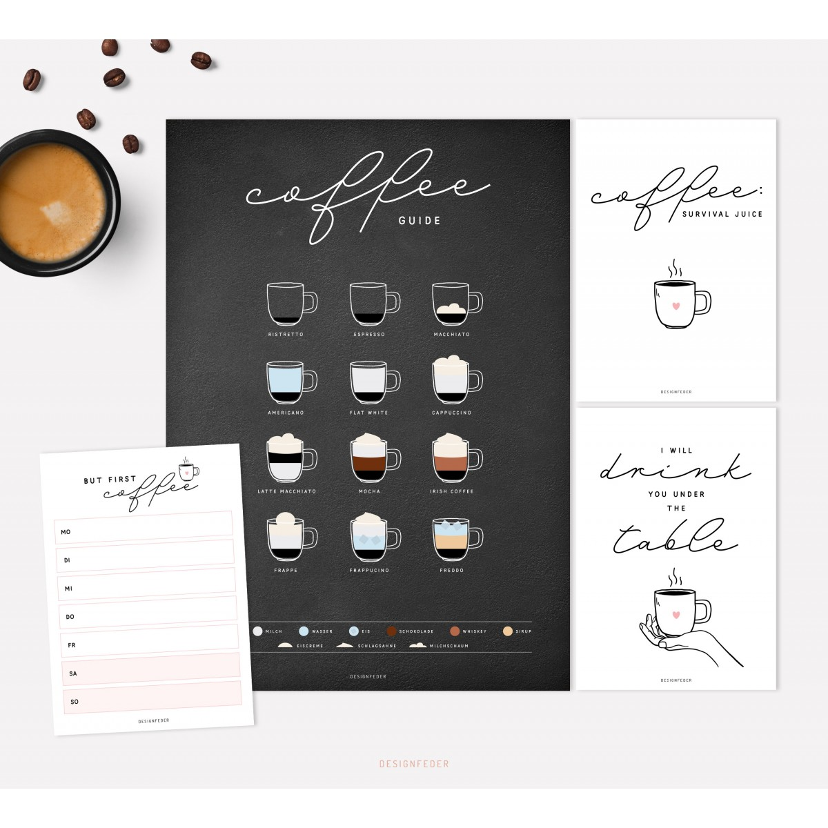 designfeder | Poster, Postkarten & Notizblock Coffee black