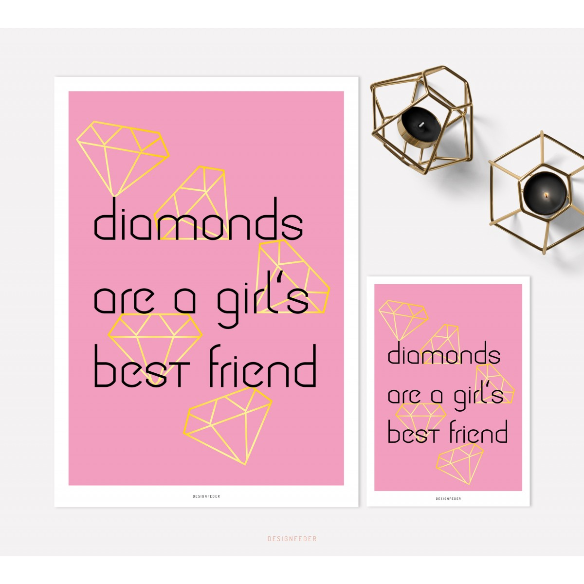 designfeder | Poster & Postkarte Diamonds are a girl's best friend