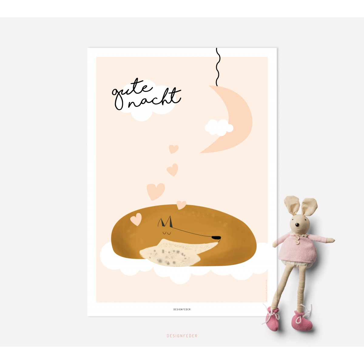 designfeder   Poster Gute Nacht kleiner Fuchs 2