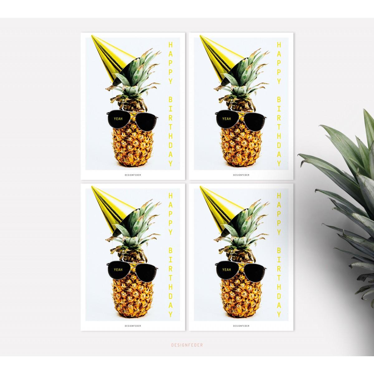designfeder | Postkarten 4er Set – Happy Birthday