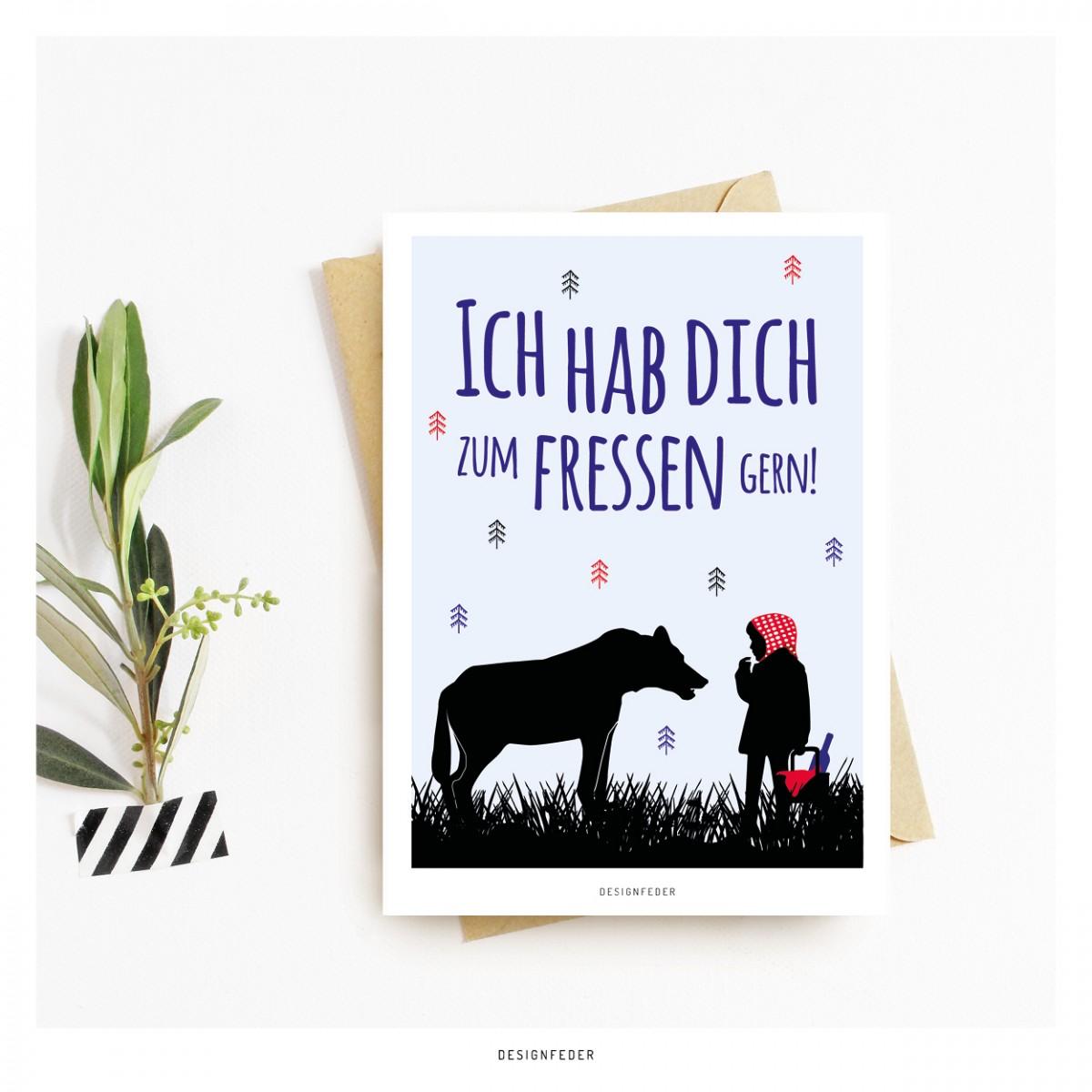 designfeder   Postkarte Ich hab dich zum fressen gern