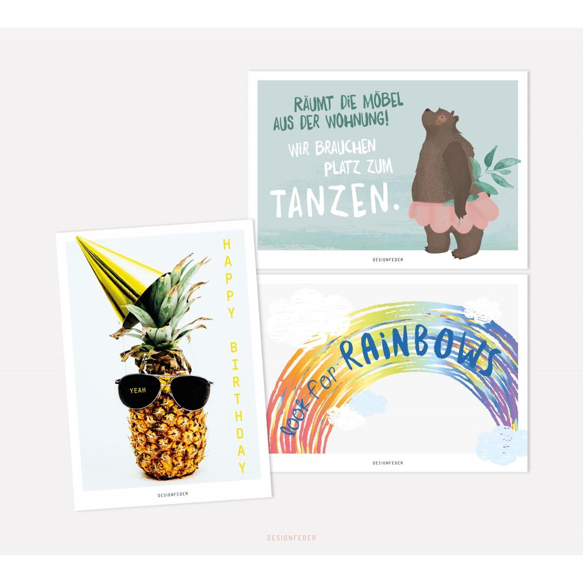 designfeder | Postkarten 3er Set – Happy Birthday, Tanzbär und Rainbow