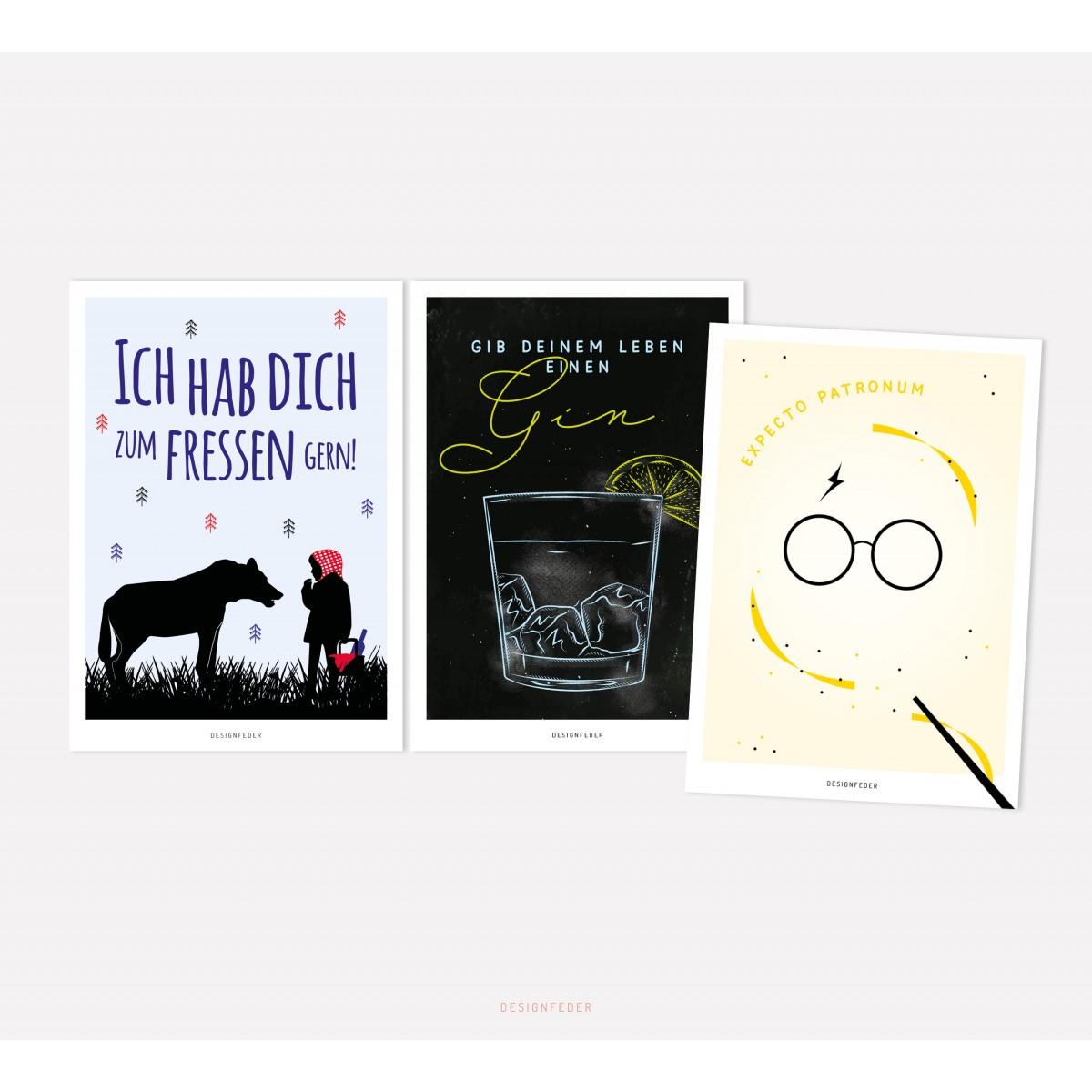 designfeder   Postkarten 3er Set – Rotkäppchen, Gin und Expecto Patronum