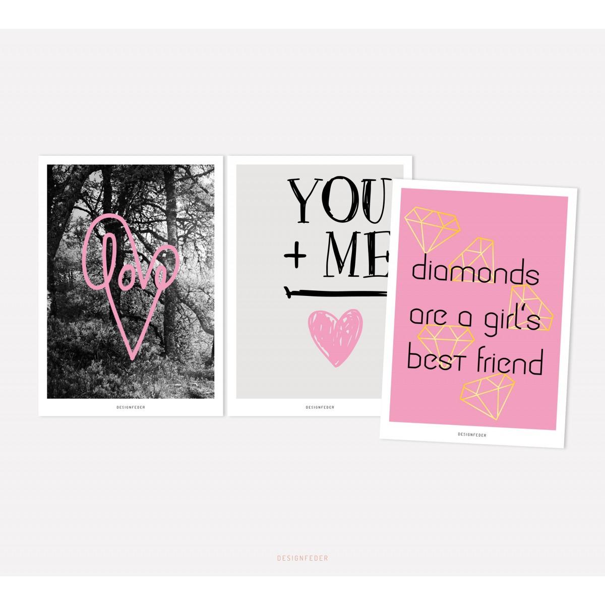 designfeder | Postkarten 3er Set – Love, You + Me und Diamonds