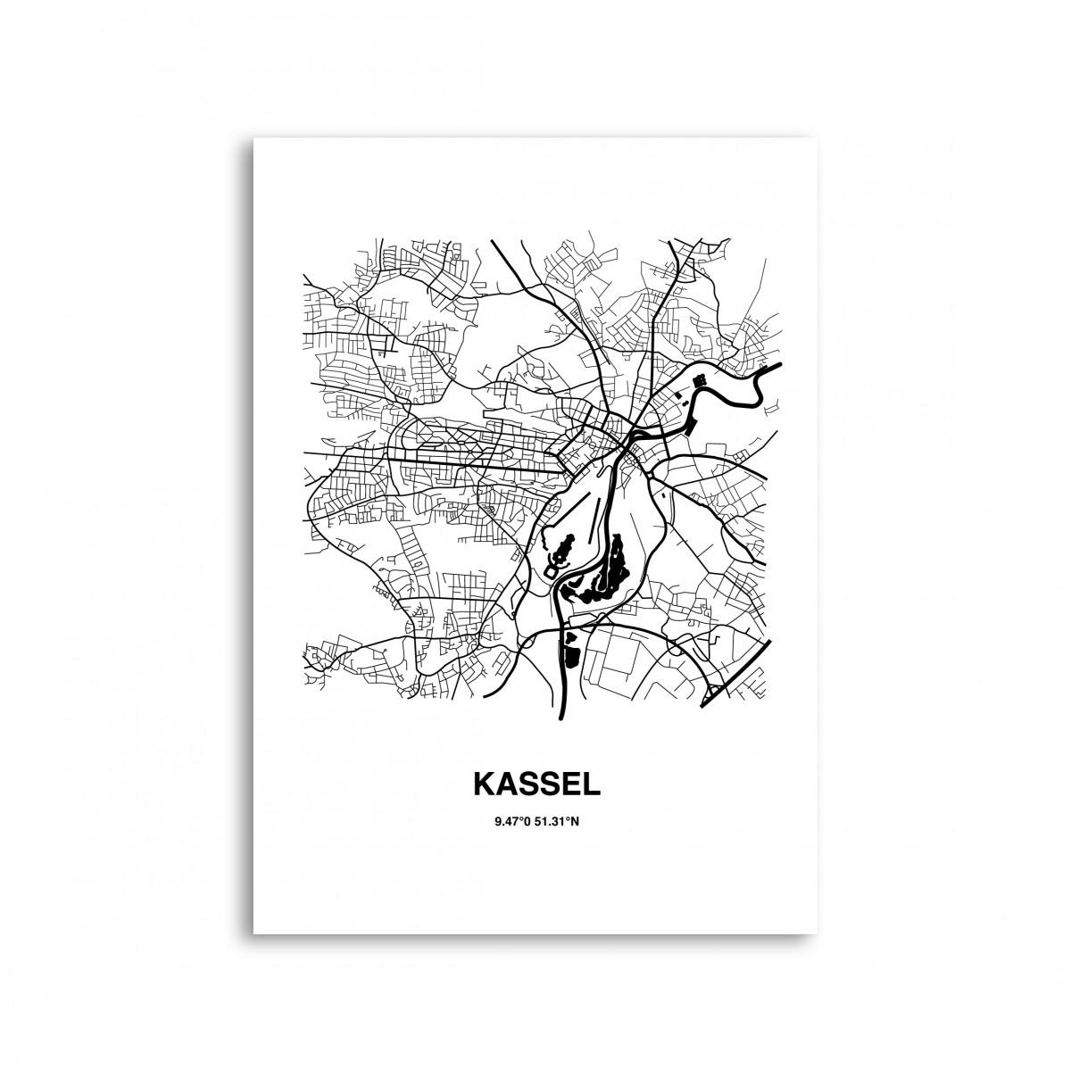 Stadtliebe® | Kassel - Karte black&white Kunstdruck A4