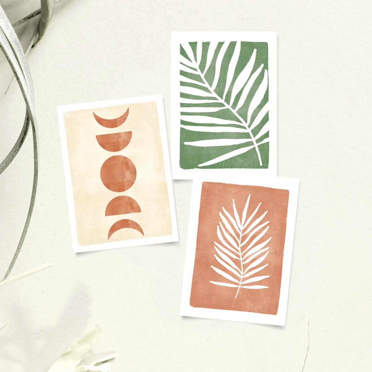 Paperlandscape | Postkarten-Set | Palmblätter und Mondphasen | Pflanzen