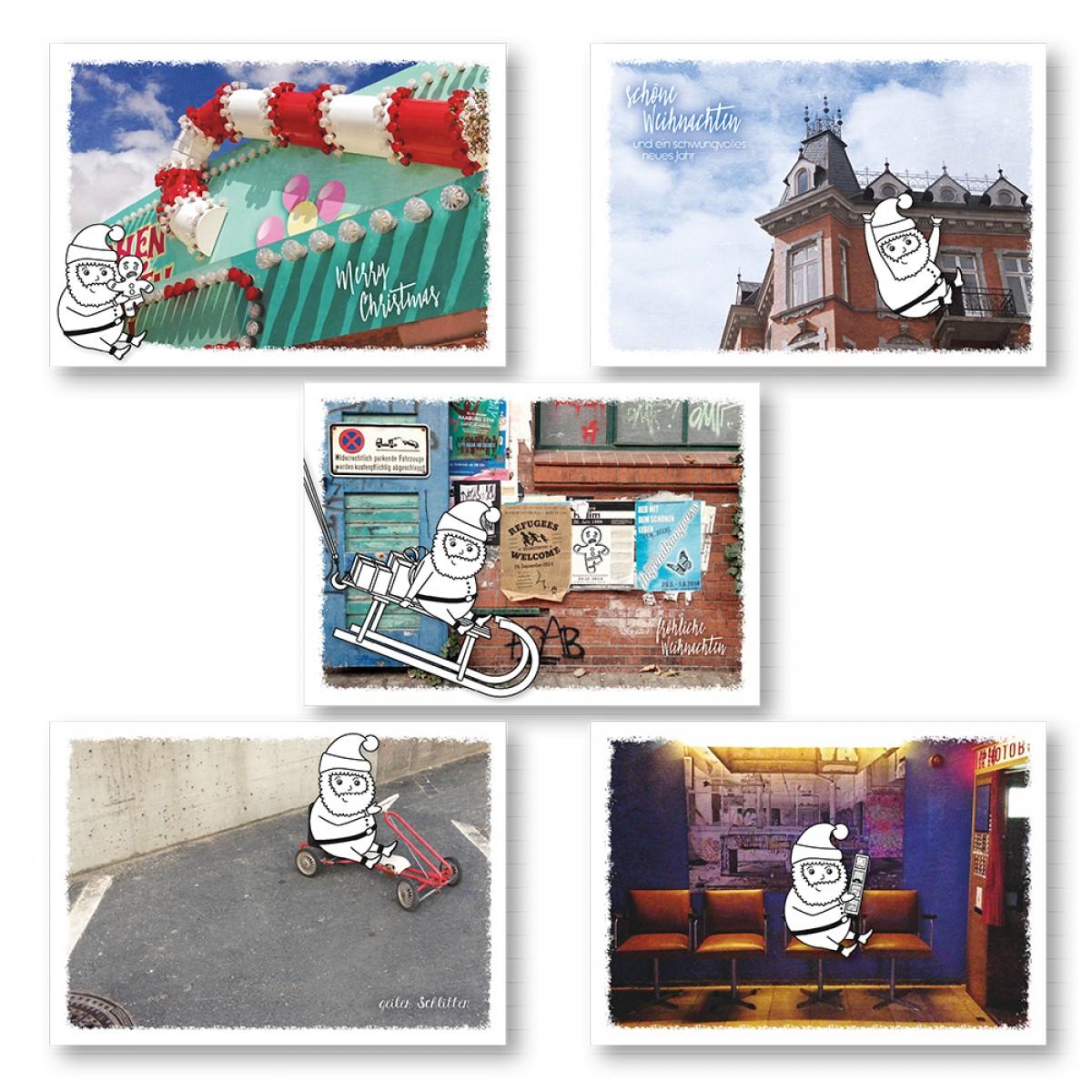 """Frau Schnobel Grafik XMAS Weihnachtspostkarten """"Fotobox"""" 5er Set"""