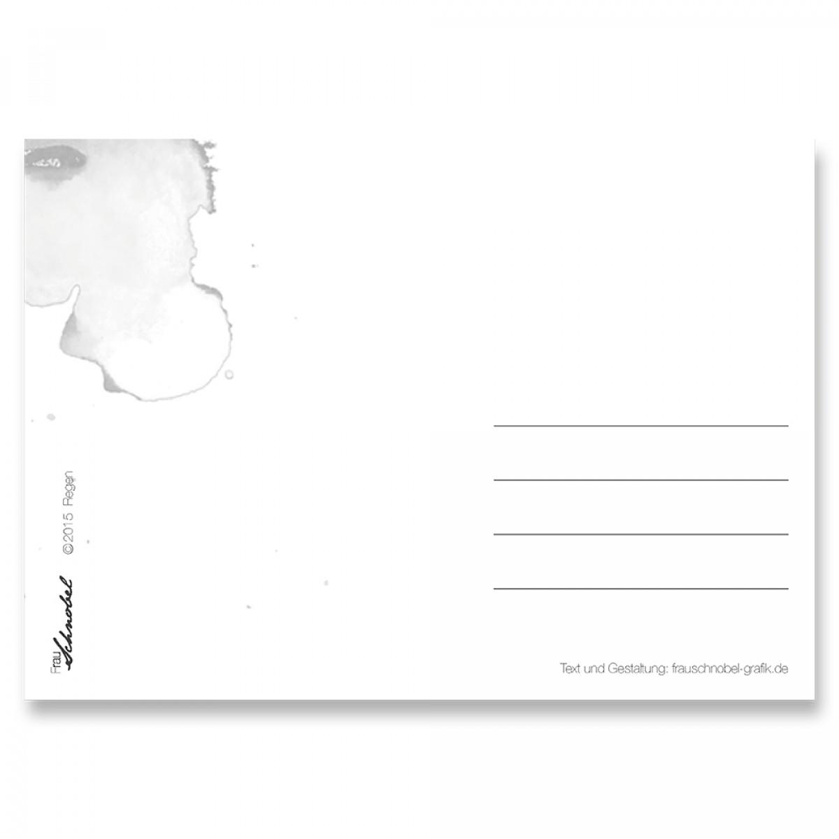 "Frau Schnobel Grafik Postkarte ""Regen"" 4er-Set"