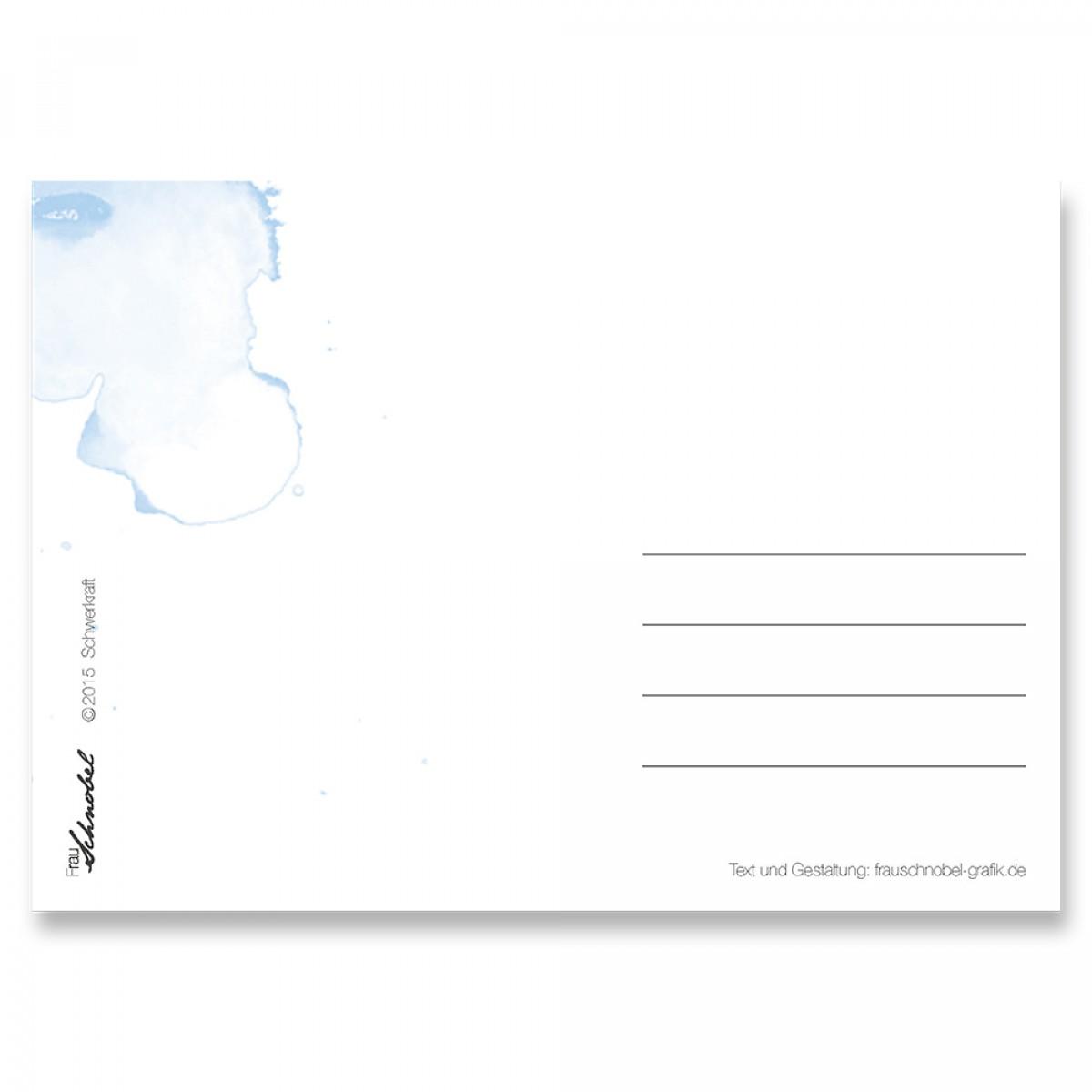 "Frau Schnobel Grafik Postkarte ""Schwerkraft"" 4er-Set"