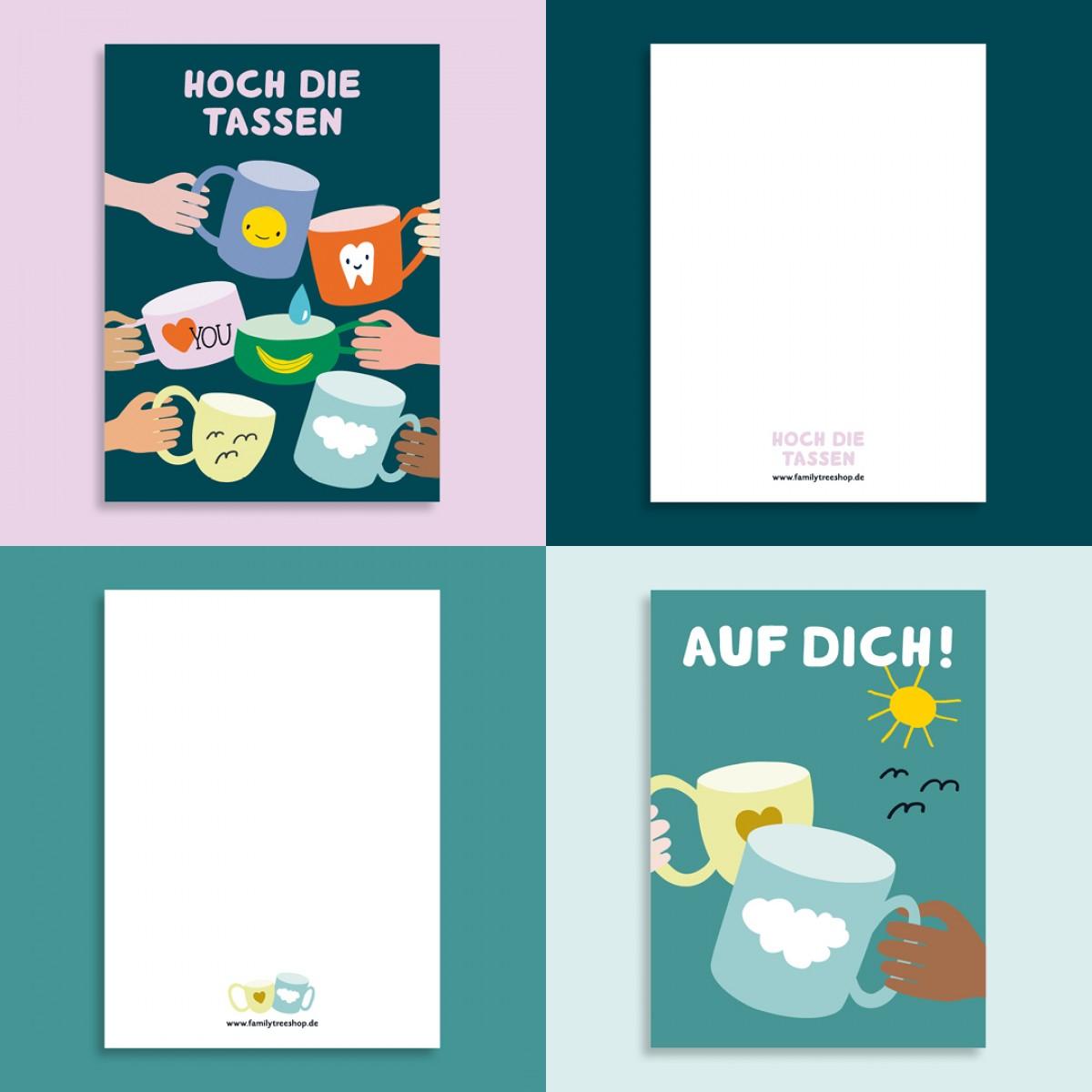 Family Tree Shop / 2er Postkarten-Set / Tassen