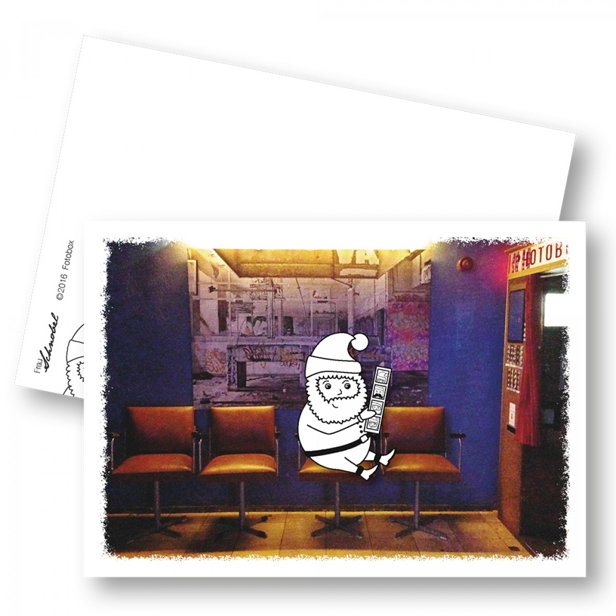 "Frau Schnobel Grafik XMAS Weihnachtspostkarten ""Fotobox"" // Weihnachtskarte 5er Set"