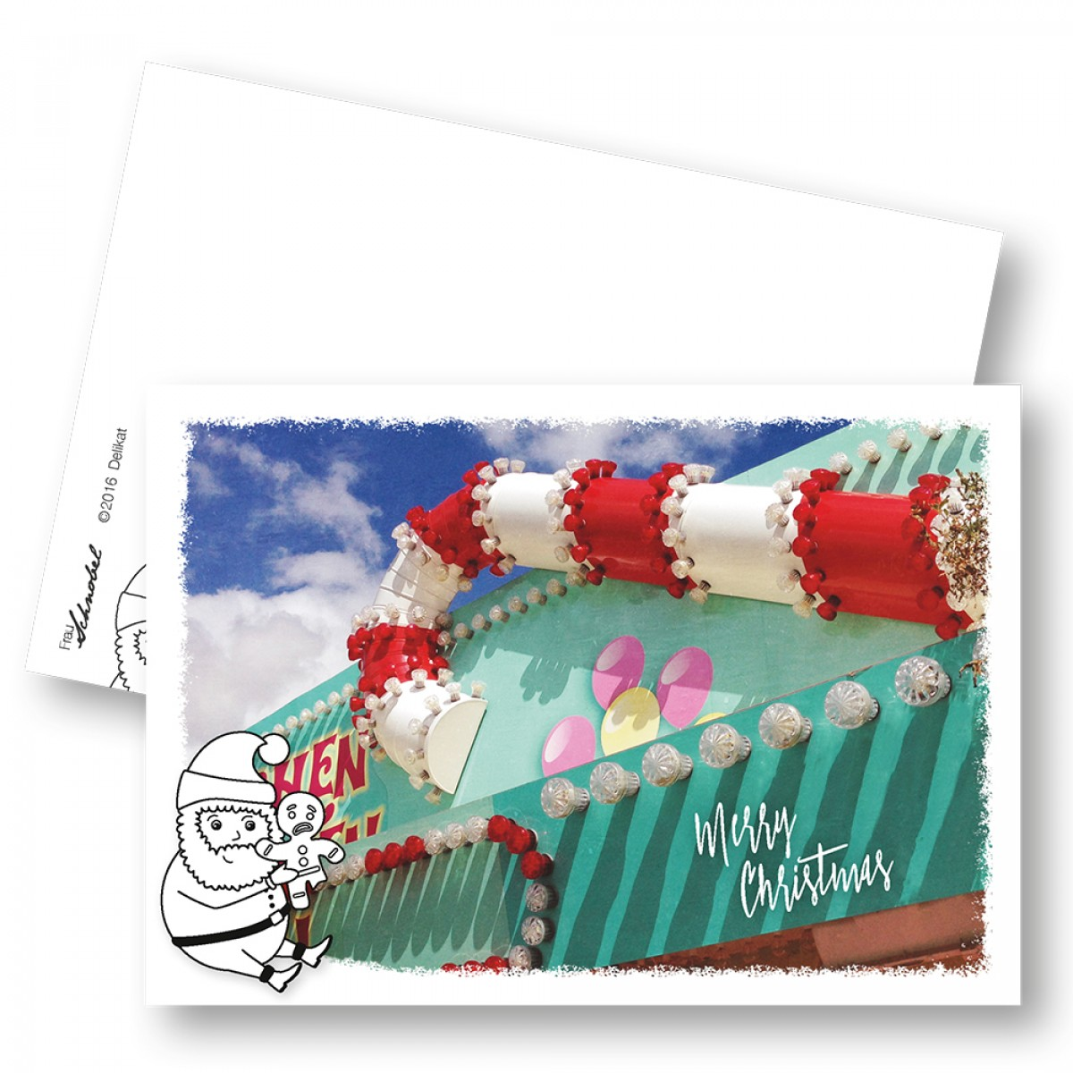 "Frau Schnobel Grafik XMAS Weihnachtspostkarten ""Delikat"" // Weihnachtskarte 5er Set"