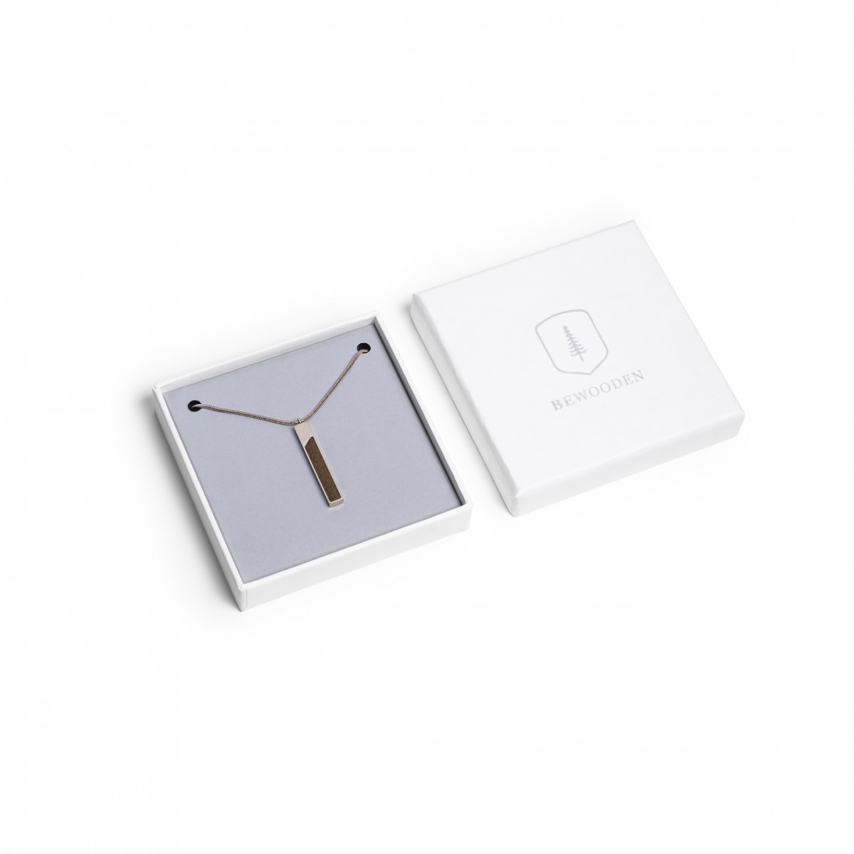 BeWooden Halskette mit Holzdetail - Neue Collection - Rea Necklace Rectangle