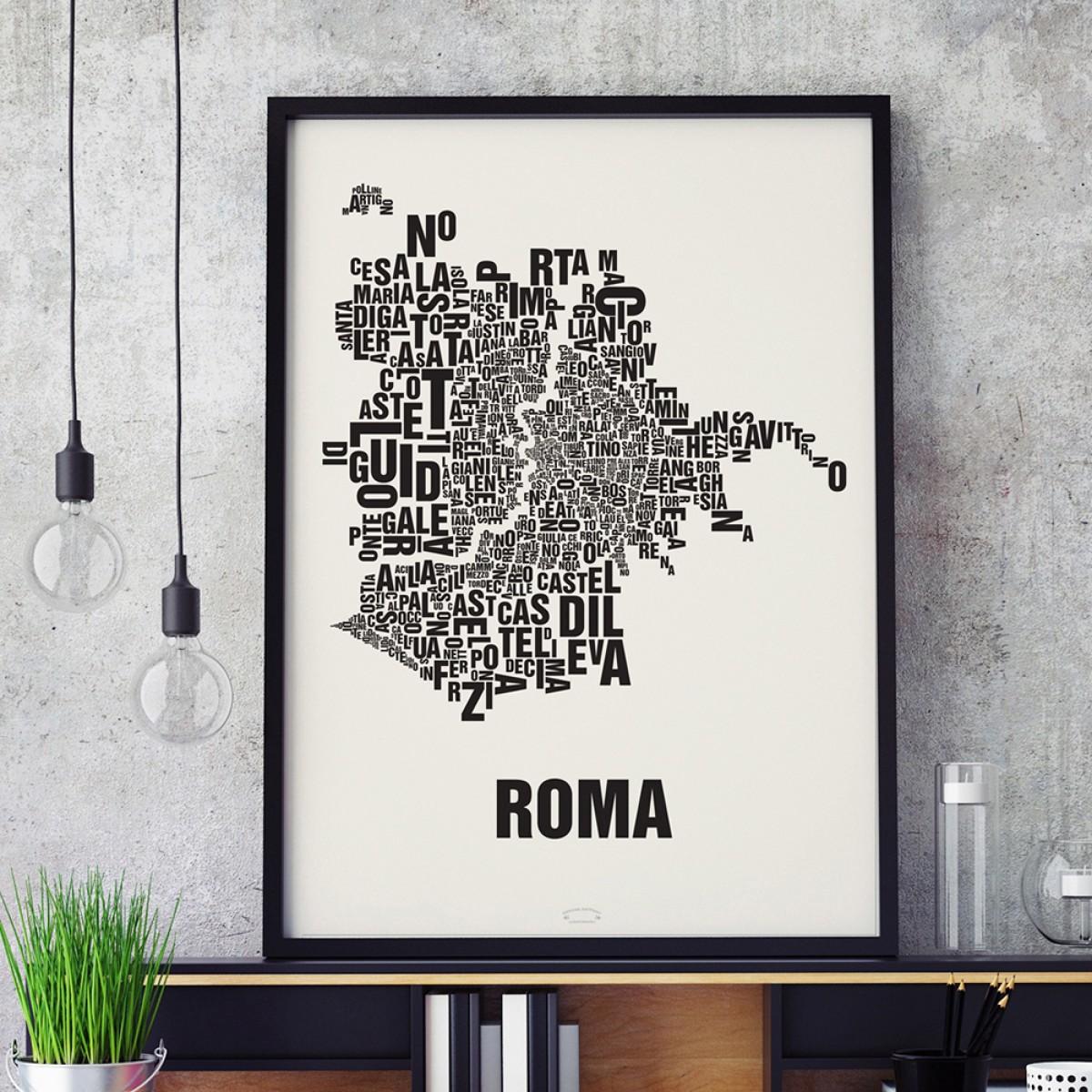 Buchstabenort Rom Stadtteile-Poster Typografie Siebdruck