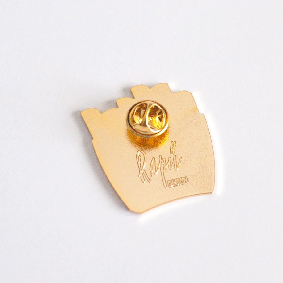 "Rapü Design goldiger Pommes Pin ""Pommunity"""