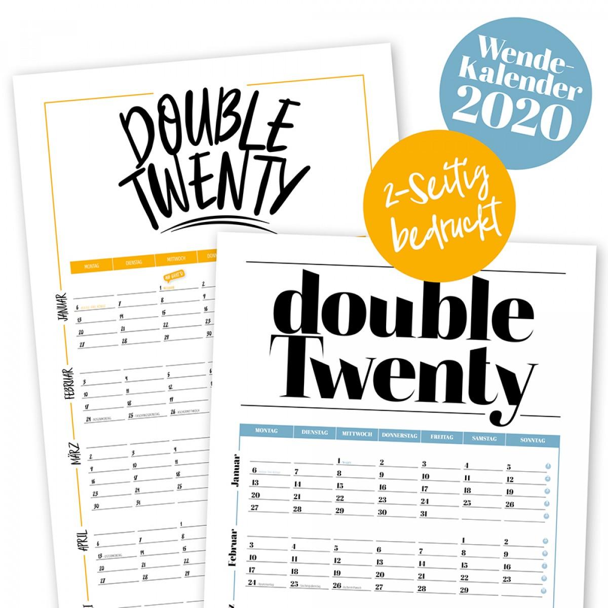 "Rapü Design Wandkalender 2020 ""Double Twenty"" | Wendekalender"