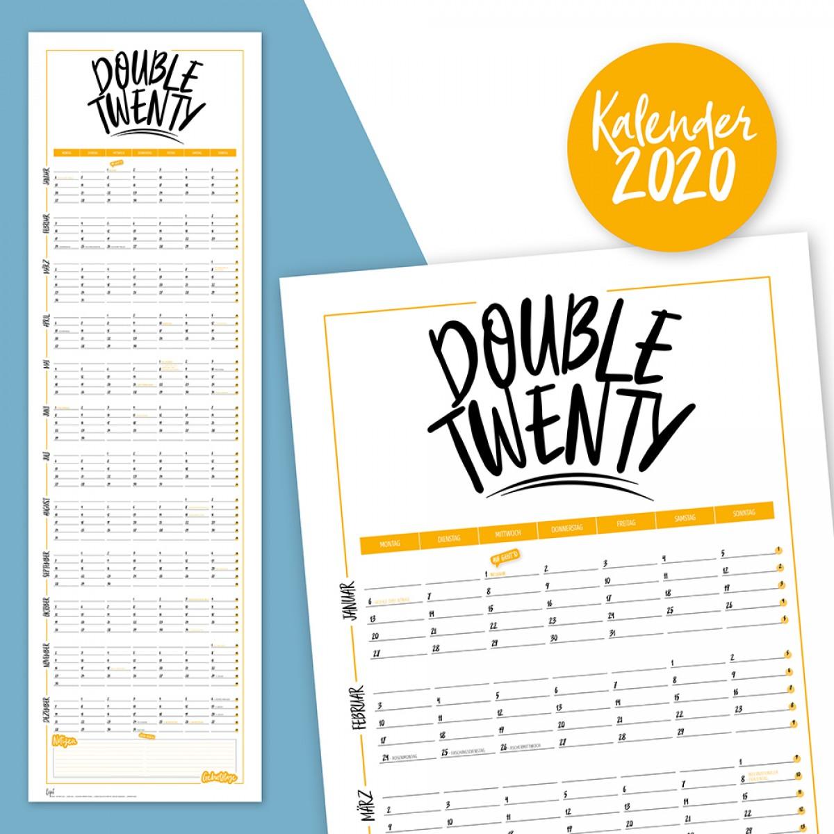 "Rapü Design Wandkalender 2020 ""Double Twenty""   Posterkalender zum Wenden gelb"