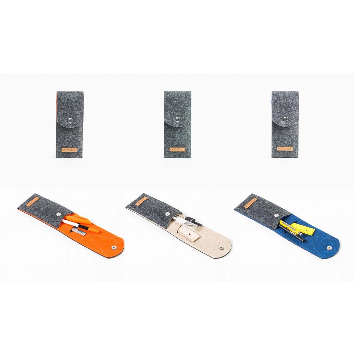 RÅVARE Stifthalter für 3 bis 4 Stifte & Lineal, Stiftemäppchen, Stiftetui, Federmäppchen, Federmappe in verschiedenen Farben [REMO]