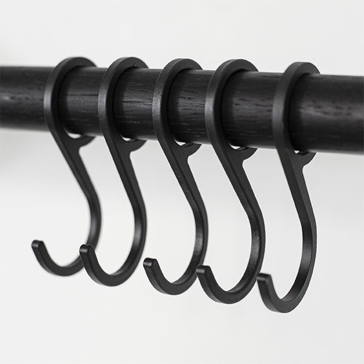 Garderobenhaken für SOLID Flurgarderobe, 5 Stück Schwarz (Zubehör) | Result Objects