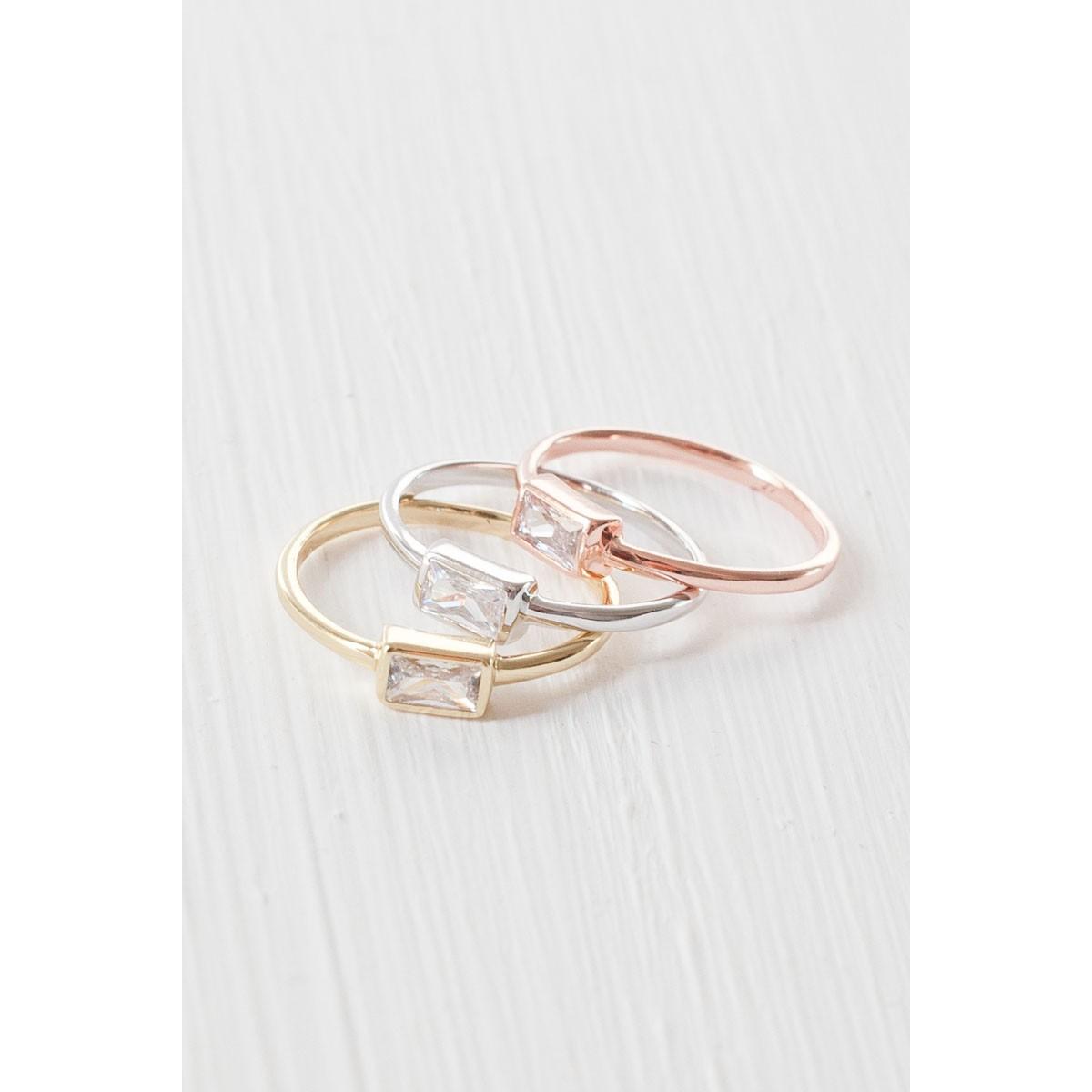 Baguette Ring aus 925 Sterlingsilber rosévergoldet