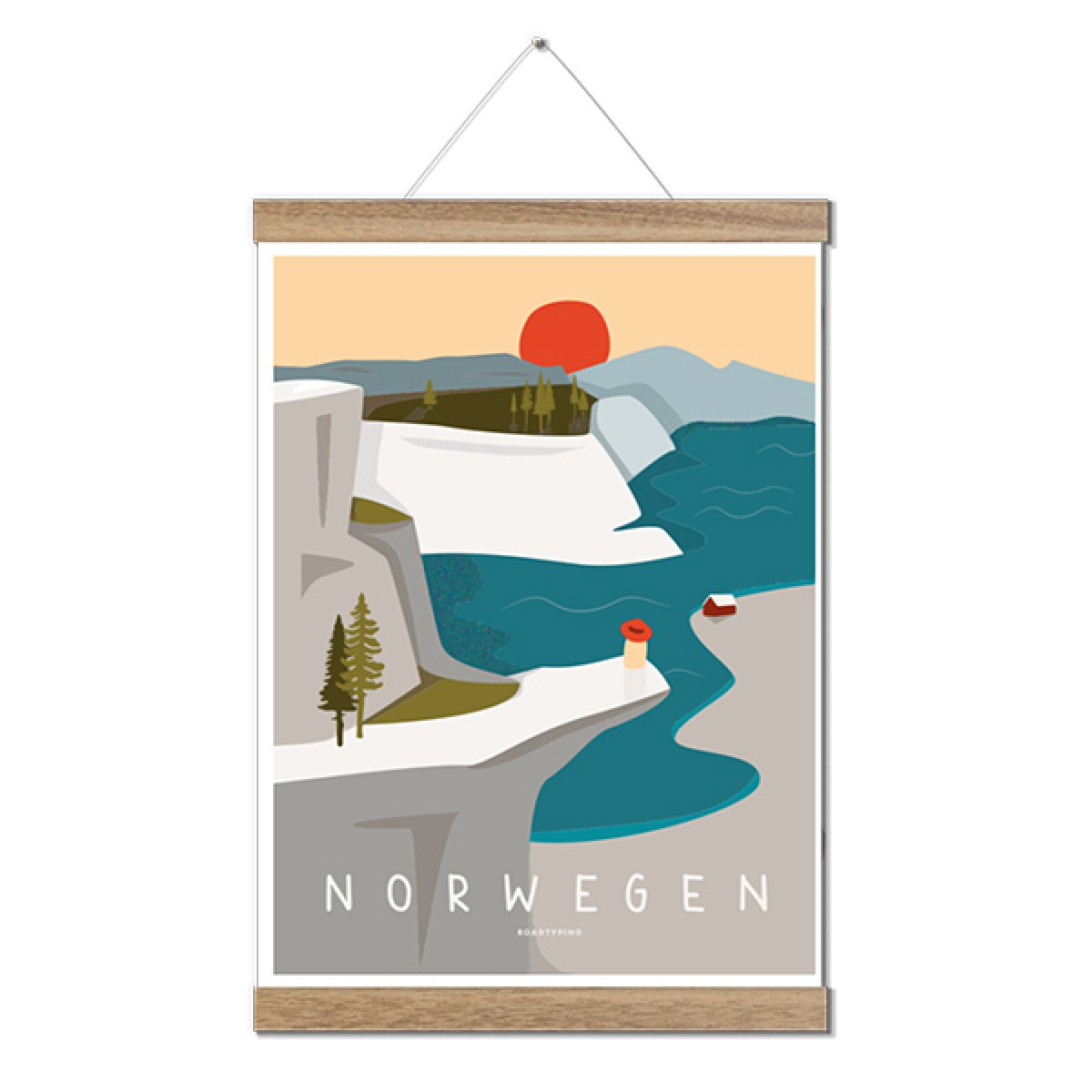Roadtyping Art Print Norwegen (30x40cm)