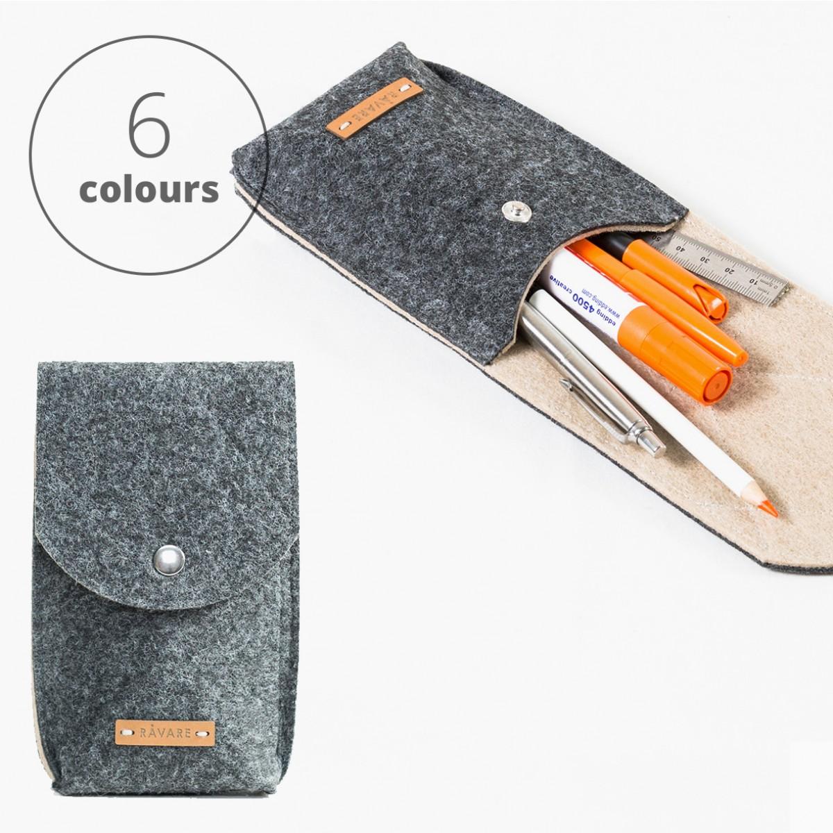 RÅVARE Stifthalter für viele Stifte & Lineal, Stiftemäppchen, Stiftetui, Federmäppchen, Federmappe in verschiedenen Farben [RUKA]