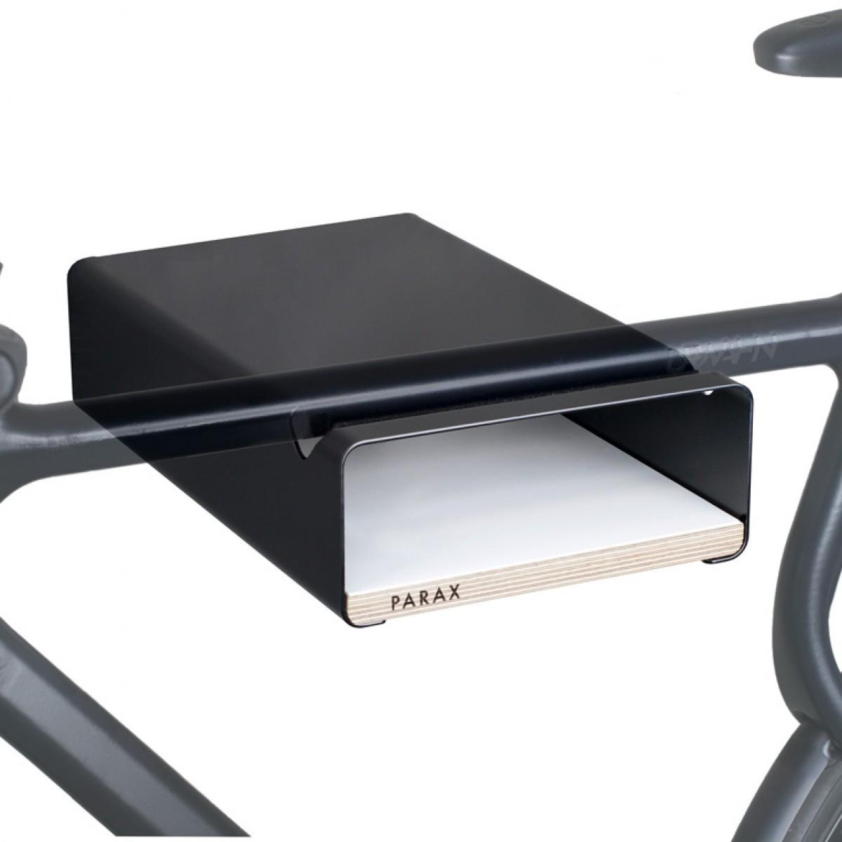Design Fahrrad-Wandhalterung   PARAX® S-RACK   Schwarz mit Holz Weiß   für Rennrad Hardtail & Cityrad