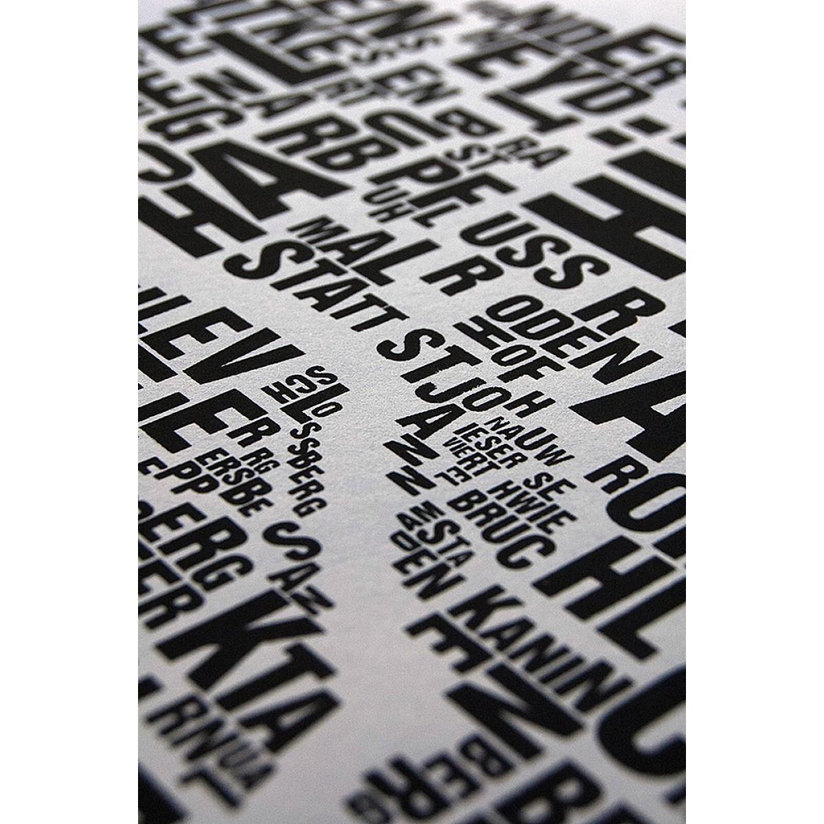 Buchstabenorte Poster SAARBRÜCKEN Stadtteile Typographie