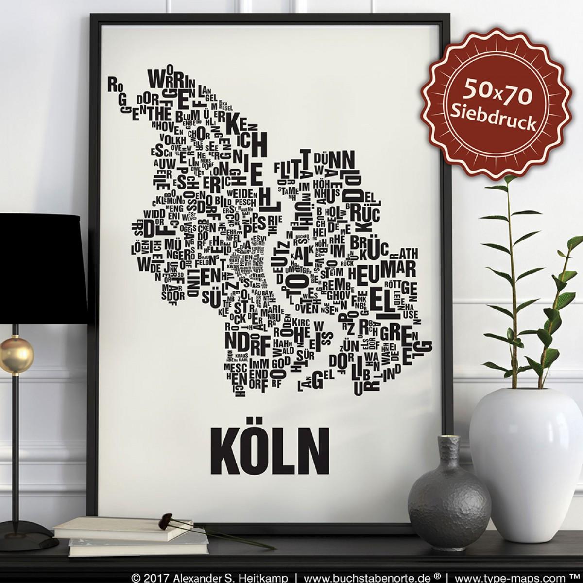 Buchstabenort Köln Stadtteile-Poster Typografie