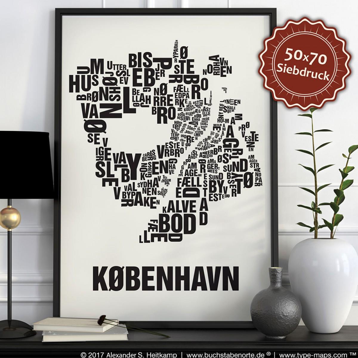 Buchstabenort Kopenhagen København Stadtteile-Poster Typografie