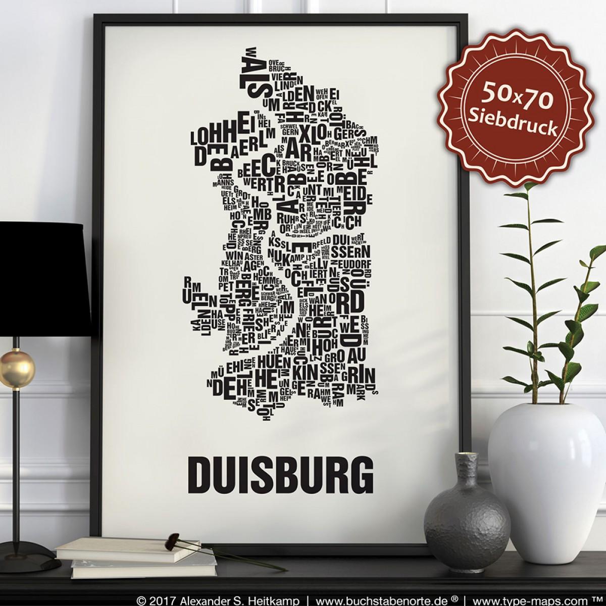 Buchstabenort Duisburg Stadtteile-Poster Typografie