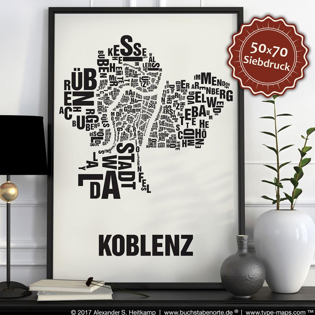 Buchstabenort Koblenz Stadtteile-Poster Typografie